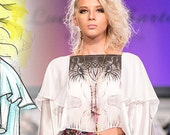 Liza White Blouse  Long Dress  Silk  Size Small