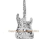 Musical Instrument Art Electric Guitar Art Word Art, Fender Stratocaster Style Guitar Illustration, Guitar Typography Calligram, Rock Music