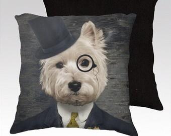 Westie Dog Art Pillow Decorative Dog Pillows West Highland Terrier Pillow Cover Throw Pillows 18x18 or 22x22 Pillow Case