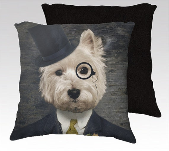 Decorative Pillows Dog : Westie Dog Art Pillow Decorative Dog Pillows West Highland