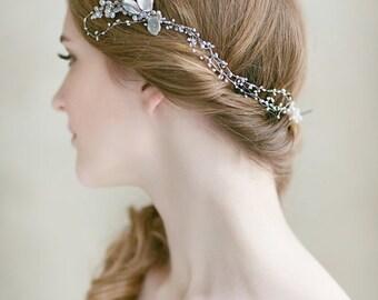 Bridal  Hair Piece ,Wedding Pearl Headpiece ,  Wedding Hair  Accessories , Bridal  Hair Vine, Long  Pearl  Hair Comb