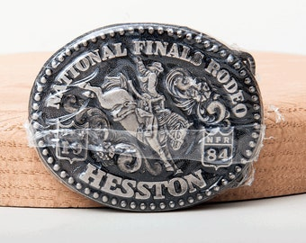 Vintage 1984 Nationals Finals Rodeo Hesston Fred Fellows Belt Buckle