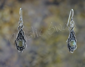 Woodland Themed Teardrop Shaped Earrings with Labradorite Stone