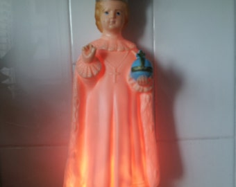 Vintage Jesus Catholic Saint, Infant of Prague, Light up Statue, Shrine Figure, Kitsch, Religious, Molded Plastic, USA, Wedding Luck