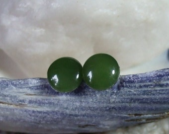 BC Nephrite Jade 8mm Stud Earrings Earings Titanium Posts and Clutches Hypo Allergenic Made in Newfoundland Spirit Green