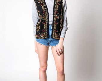 The Vintage Black Red and Gold Beaded Knit Vest