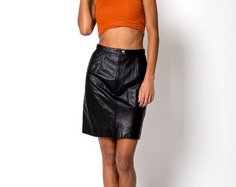 The Vintage Black Leather Pencil Skirt