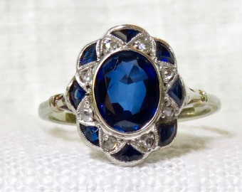Reserved for Alexandria do not purchase unless you are Alexandria Sizing 1920s Art Deco 18k Gold Blue Sapphire and Diamond Ring 2.76 Carats
