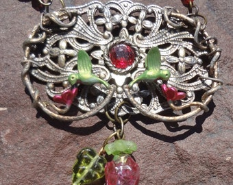 Adorable Double Hummingbird Necklace--one of a kind