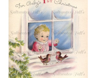 Cute Baby in Window 1st Christmas Image Digital Download vintage transfer card holiday xmas card vintage 1950s Baby Birds First Christmas