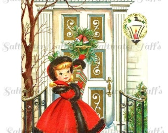Christmas Girl at the Door Image Digital Download vintage picture card holiday xmas christmas  vintage 1950s red dress snowstorm greetings