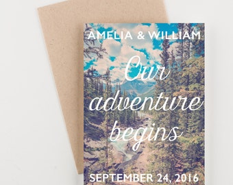 Woodland Adventure Save The Date, Rocky Mountains, Bridal Shower, Wedding Invitation