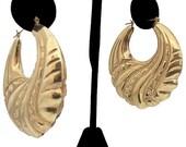 14K Gold Hoop Earrings, 14K Gold Large Puffed Pierced Hoop Earrings Vintage 1980s