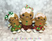 Custom Christmas Gingerbread Girl Doll with Bow and Skirt / 2 Sizes