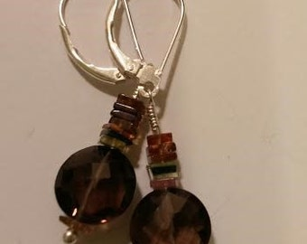 Tourmaline smoky quartz earrings