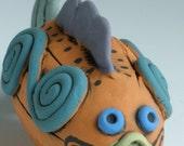 CLAY FISH, Ceramic Fish, Colorful Fish, Orange Fish, Fish, Whimsical Fish, Fish Sculpture, Under the Sea, Sea Creatures, Blue Fin
