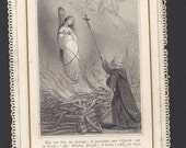 Antique St. Joan of Arc French Lace Holy Card Beautiful Old Prayer Card of Jeanne d'Arc