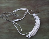 Leather Tassel Necklace, White Deer Leather Tassel Necklace, Long Boho Necklace, Long Tassel Necklace, White Tassel Necklace, Leather