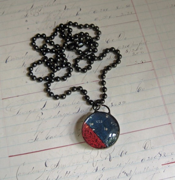 Indigo Antique Quilt Top Jewelry, New Series! Padlock Bubble Pendants, One of a Kind