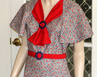 The MAY Dress . A fabulous 1930's Vintage Reproduction 'Capelet' Day dress