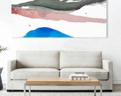 "Large Original Abstract Landscape Art, blue, pink, dark grey green, 26 x 60"", ""The Long Winter Sunrise""  watercolor canvas, contemporary art"