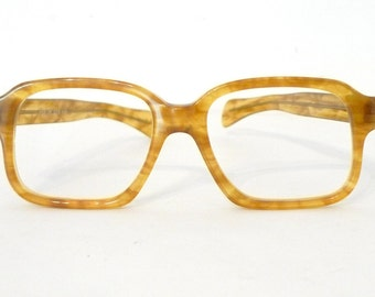 Vintage NOS Amber Wayfarer Glasses. Blonde Eye Frame. Bigger Tortoise Shell Eyeglasses Frames / Prescription Sunglasses 53mm Lens Size