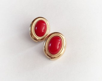 Vintage Monet Earrings Red Plastic and Gold Tone Metal