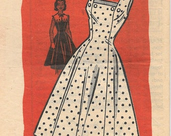 Anne Adams 4632 1950s Sundress with Detached Collar Vintage Sewing Pattern Size 14 Bust 34 Princess Seams