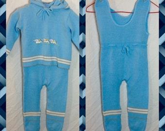 La Petite Enfant - Adorable Blue Sweater Jumper and Back Zip Hoodie with Elephant Applique - Size 0-6 Months