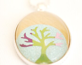tree of life necklace, bodhi tree necklace, rainbow tree necklace, upcycled paper collage pendant