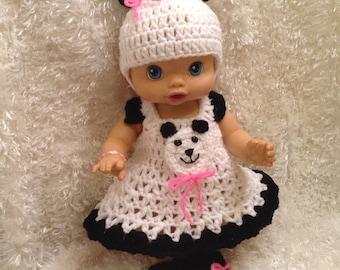 Clothes For 13 inch Dolls.Panda Bear Dress set