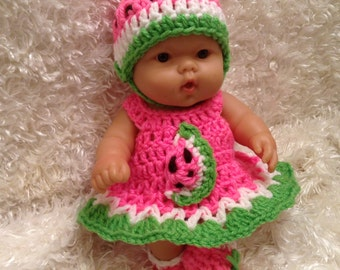 Clothes For 10 Inch and 8 inch Berenguer/Reborn Dolls. Watermelon  Dress Set
