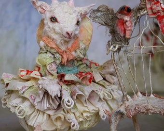 Madeleine goat little girl and her bird cage inspired by La Comtesse de Ségur
