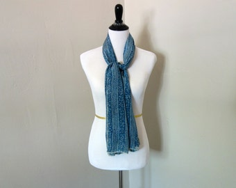 Vintage Echo Scarf, 1970s Scarf, Made in Japan, 100% Silk in a Beautiful Dusty Blue Sweater Knitting Design, Long Blue and Cream Silk Scarf