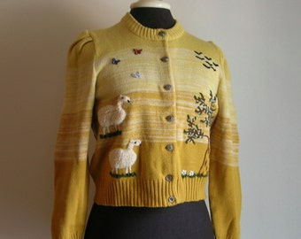 Vintage Cropped Cardigan Sweater Sheep Birds Butterflies Flowers and Trees Scenes by Pfister Austria