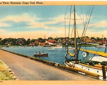 Vintage Cape Cod Postcard - Hyannis Harbor (Unused)