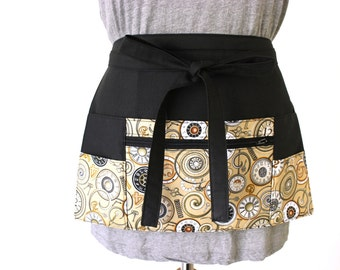 half apron - waitress apron - teacher apron - money apron - vendor apron  - zipper pocket - steampunk clock gear design READY to POST
