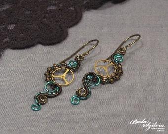 Teal STEAMPUNK EARRINGS - bronze & blue earrings, steampunk dangle earrings, steampunk jewelry, elegant steampunk, blue steampunk