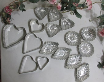 Tart Tins Set of 11 Molds Sandbakkel Candy or Soap Plus 4 Heart Cookie Cutters