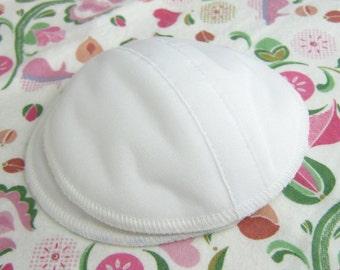 3 Pairs White Contoured Nursing Pads,  PUL and Organic Bamboo Fleece Shaped Breastfeeding Pads