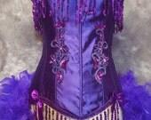 SMALL - SUGAR PLUM Showgirl Saloon Girl burlesque Purple Mardi Gras costume sequin corset