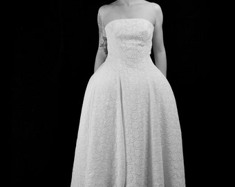 1950 - Guipure Lace Ballet Length 1950s Style Wedding Dress  - Made to Order - FREE SHIPPING WORLDWIDE