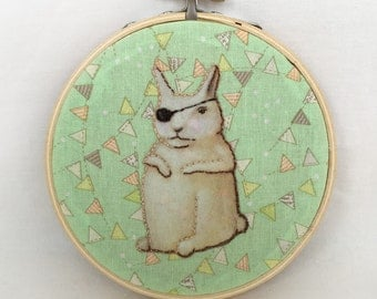 Cyclope Lapin (printed embroidered textile scene in wood hoop)