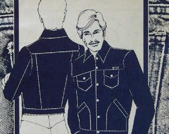 vintage 80s sewing pattern #263  mens jeans jacket sz  36-38-40-42-44-46 uncut