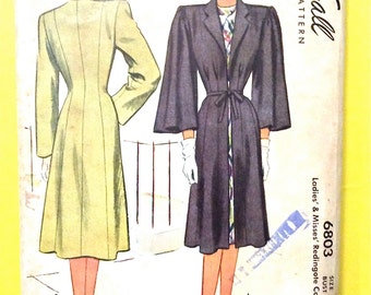 1940s McCall's 6803 Ladies' and Misses' Redingote Coat  Princess Seaming Fitted Bodice Wide Sleeves Vintage Sewing Pattern Bust 38
