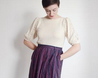 1980s Cream Short Sleeve Sweater - M