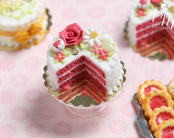 Coral Pink Velvet Layer Cake Decorated with Hand-sculpted Rose - Miniature Food for Dollhouse 12th scale 1:12