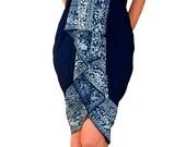 PLUS SIZE Sarong Dress or Skirt - Beach Sarong - Women's Plus Size Clothing Extra Long Batik Sarong Pareo Wrap Navy Blue Swimsuit Cover Up