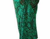 Paisley Sarong Women's or Men's Beach Clothing - Sarong Wrap Skirt - Chocolate and Aqua Swimsuit Cover Up - Batik Pareo - Brown Beach Sarong