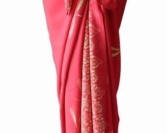 Dragonfly Sarong Women's Clothing Batik Sarong Beach Sarong Pareo Wrap Skirt or Dress Salmon Pink Swimsuit Coverup - Surfer or Swimmer Gift
